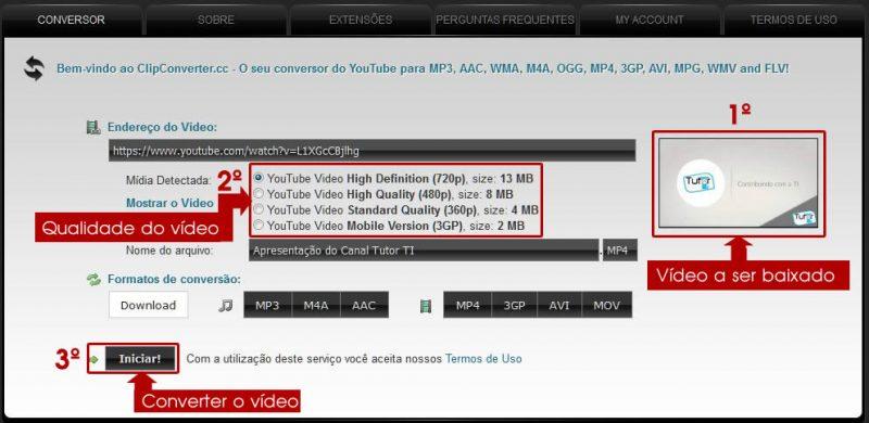 escolhendo a qualidade do vídeo no clip converter