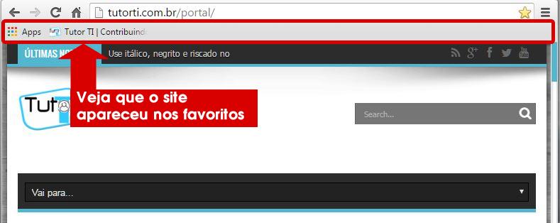 4 - verificando site na barra de favoritos do google chrome