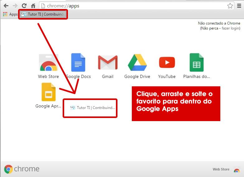 6 - arrastando favoritos para dentro do google apps