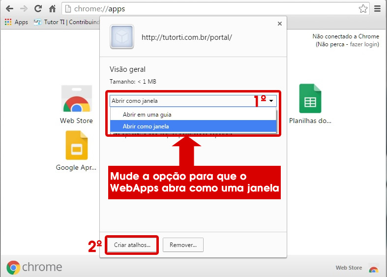 9 - alterando abertura do webapps criado no google chrome