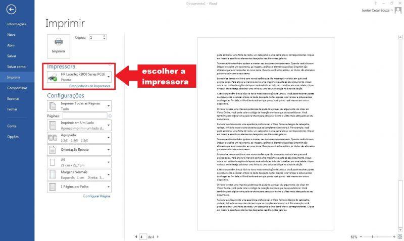 escolher impressora no microsoft word 2013
