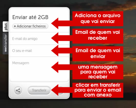 conhecendo os campos do wetransfer