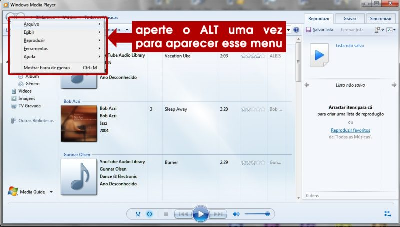 acessando a tela de configuração do windows media player