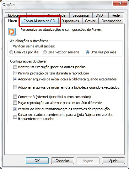 alterando as configurações do windows media player