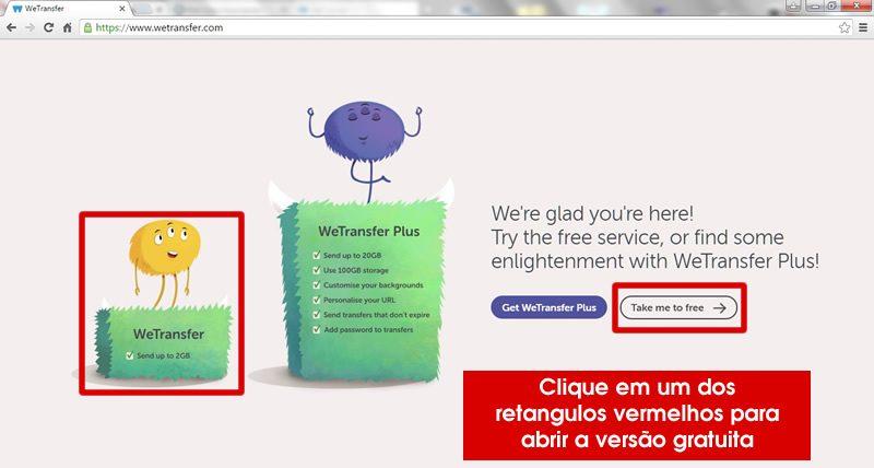 site wetransfer apresentação