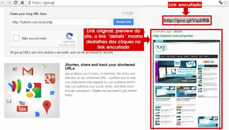 url encurtada no site goo.gl do google