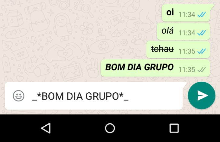 formatando texto no whatsapp
