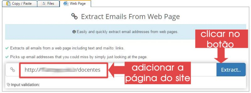 colocando link da pagina para capturar emails