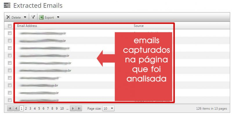 emails capturados na página do site