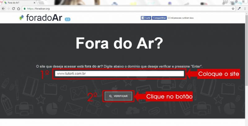 coloque o site dentro do campo do site fora do ar