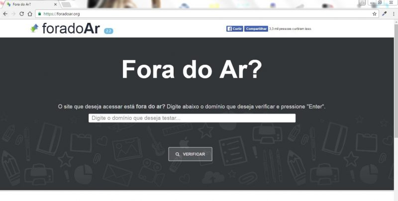entre no site fora do ar