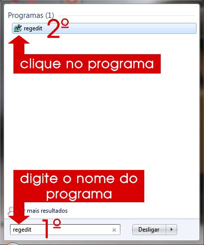 digitando regedit no menu iniciar