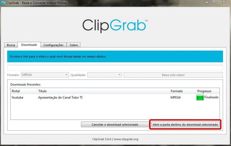 clipgrab - botão abrir pasta do download