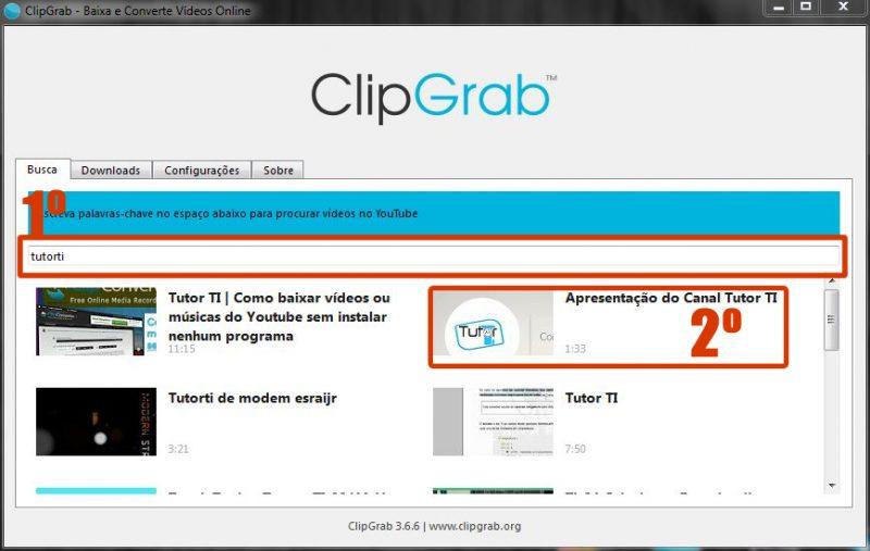 clipgrab - buscando vídeo