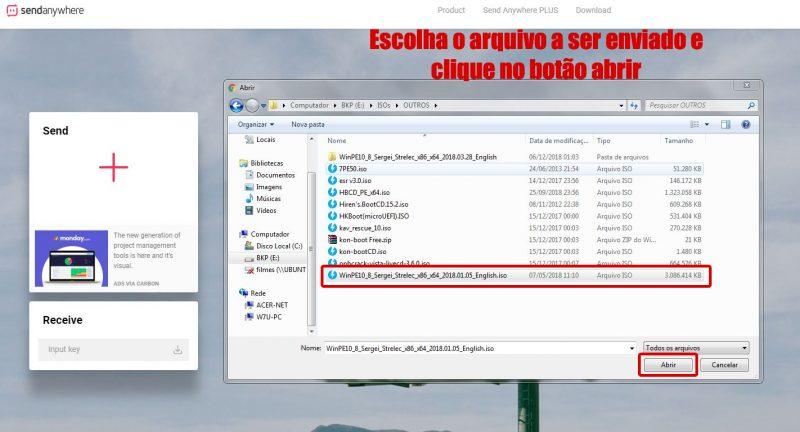 escolhendo arquivo pra envio no send-anywhere